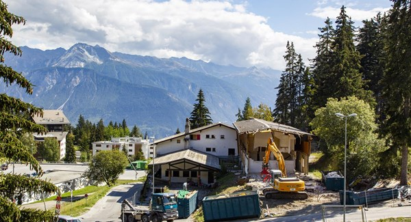Crans-Montana has started preparation work for the new finish stadium